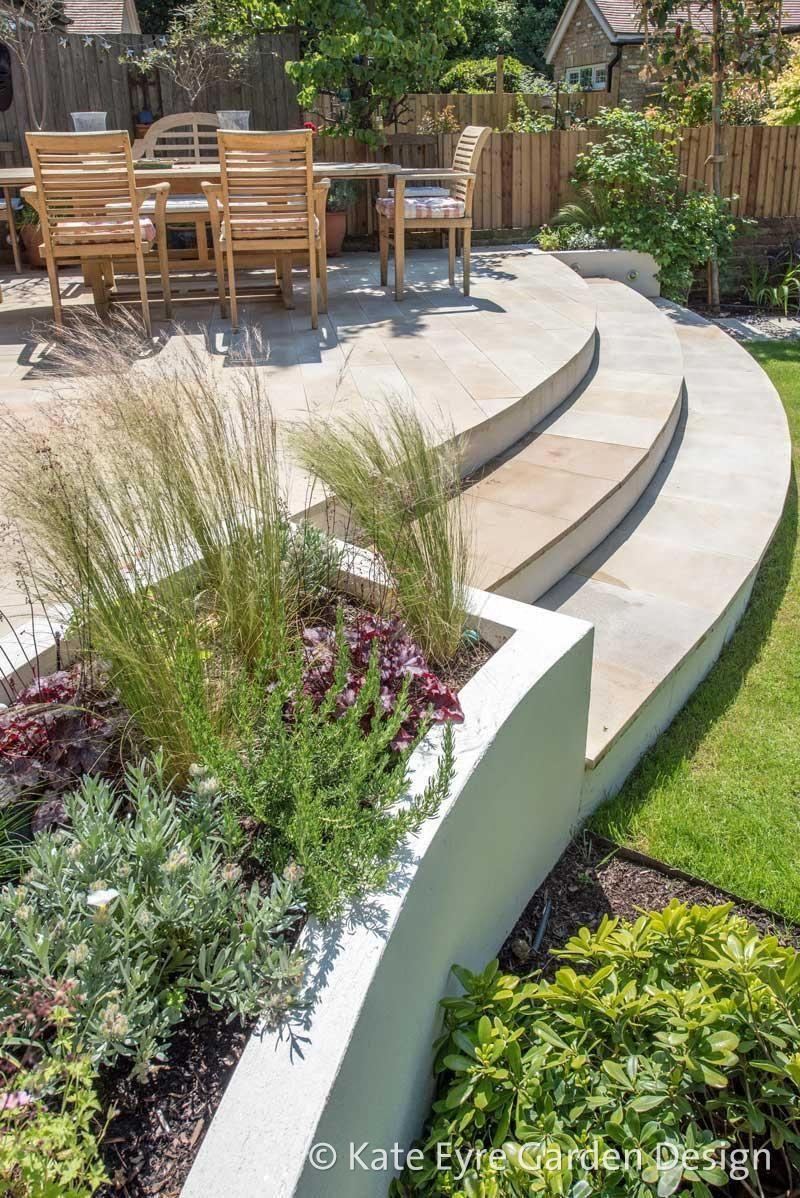 Modern Garden Idea | Back garden design, Sloped garden ...