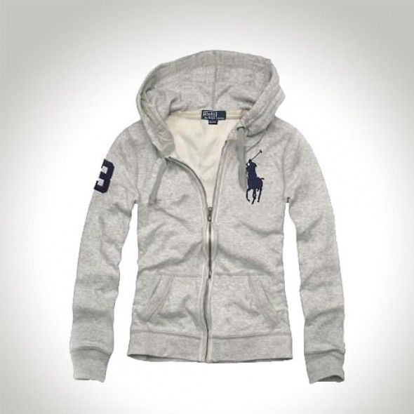 Polo Ralph Lauren Full-Zip Grey French-Rib Hoodie [rl 136] -