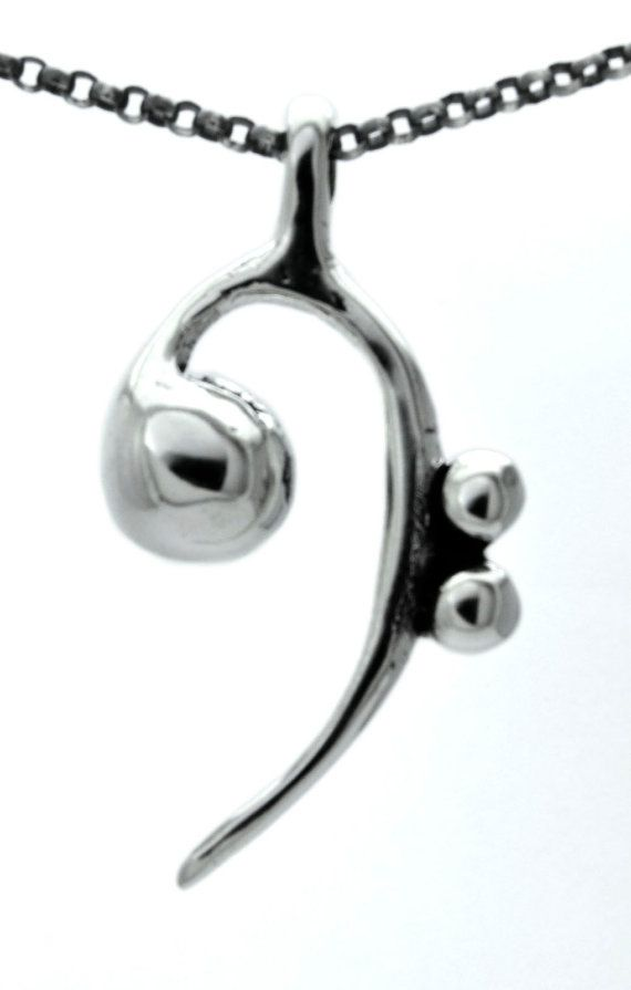 One of a Kind Bass Clef Necklace Solid Sterling by abishessentials, $227.52