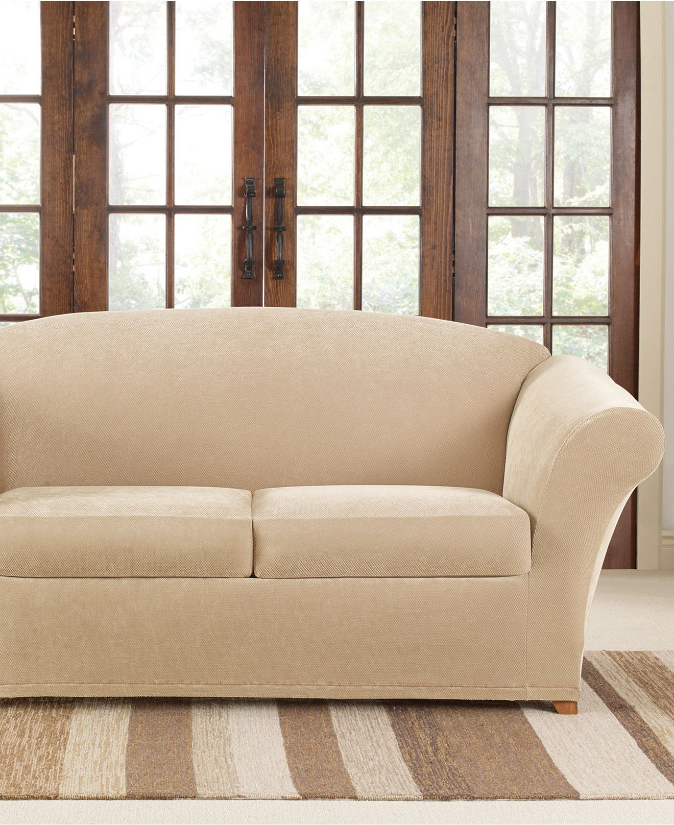 Sure Fit Stretch Pique 2 Cushion Loveseat Slipcover Reviews Slipcovers Home Decor Macy S Slipcovered Sofa Slipcovers Slipcovers For Chairs Slipcovers for loveseats with 2 cushions