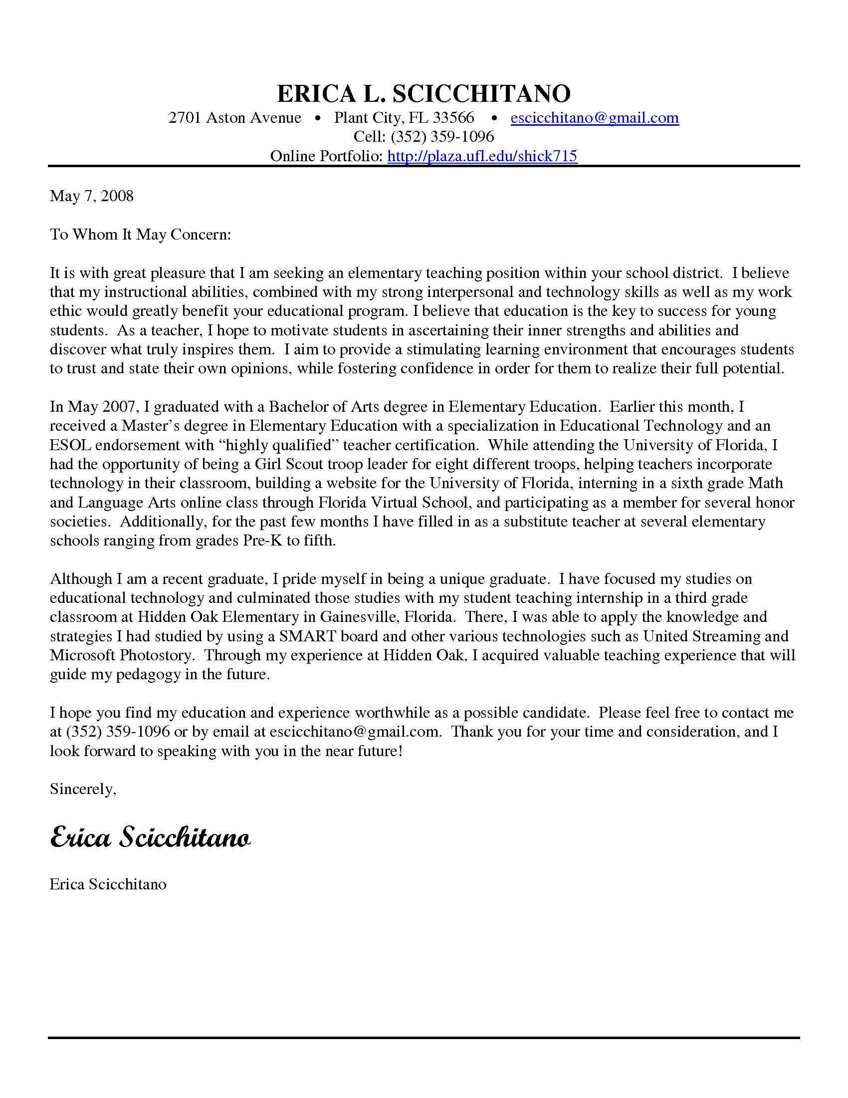 Cover Letter For High School Cover Letter For Teacher Training Sample High School Primary