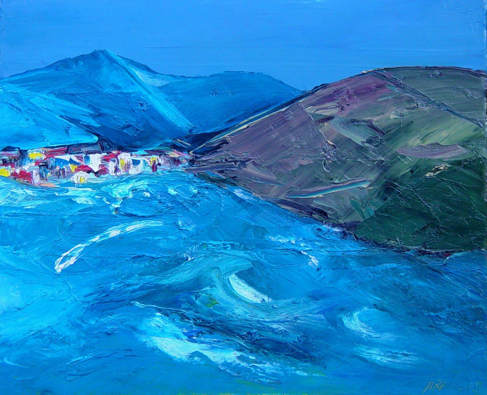 Galería Javier Román | Arnaldo | Mar con pueblo