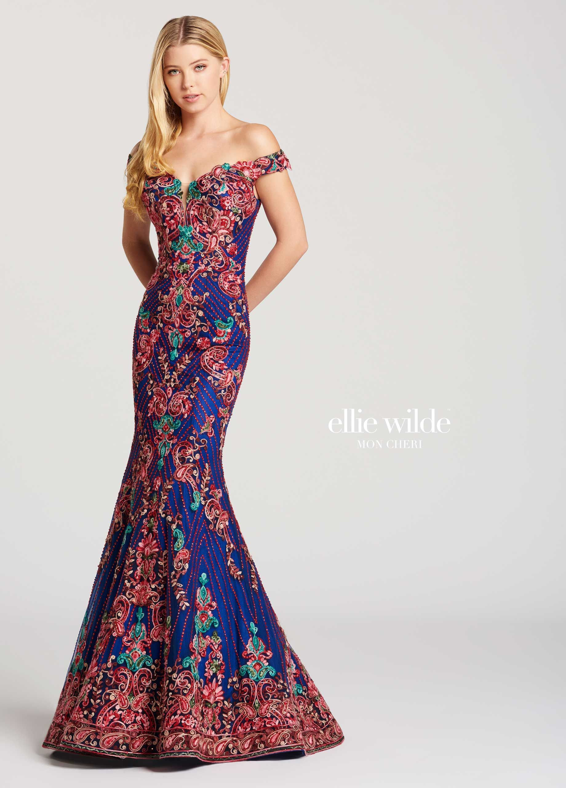 4705c43c8bf Ellie Wilde EW118029 - Off-the-shoulder allover beaded lace and tulle  trumpet dress