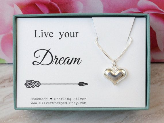 Live your dream Sterling Silver Heart necklace by SilverStamped