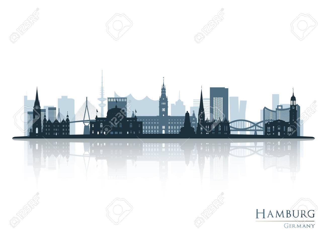 Hamburg Skyline Silhouette With Reflection Vector Illustration Sponsored Silhouette Skyline Hamburg Illustration Vector Hamburg