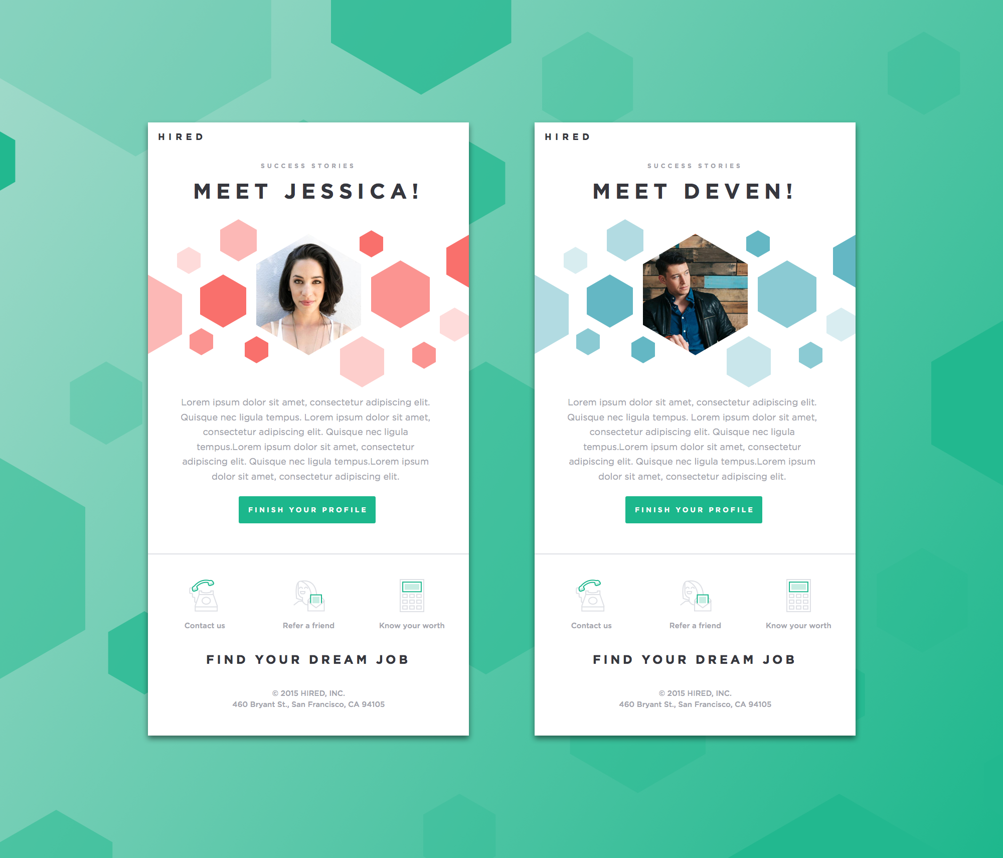 Success stories email design