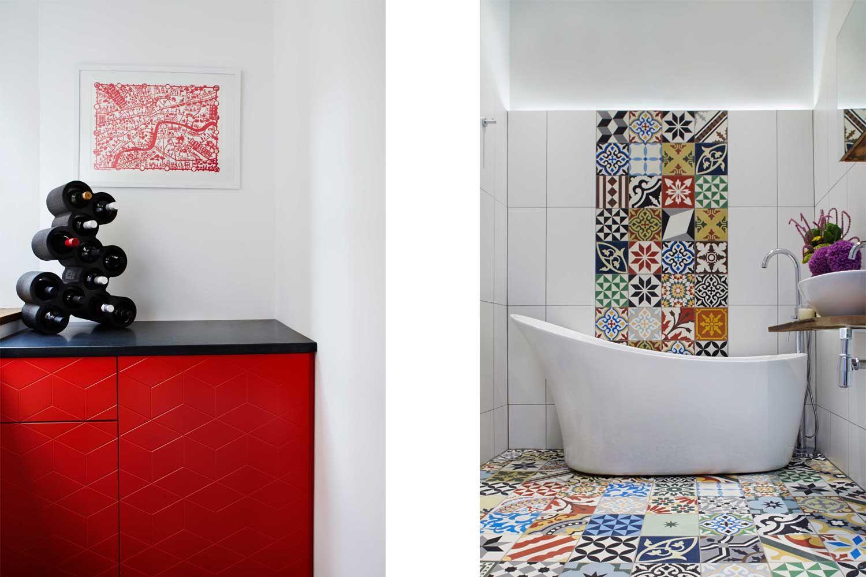 Cassidy hughes design encaustic tiles red unit freestanding bath