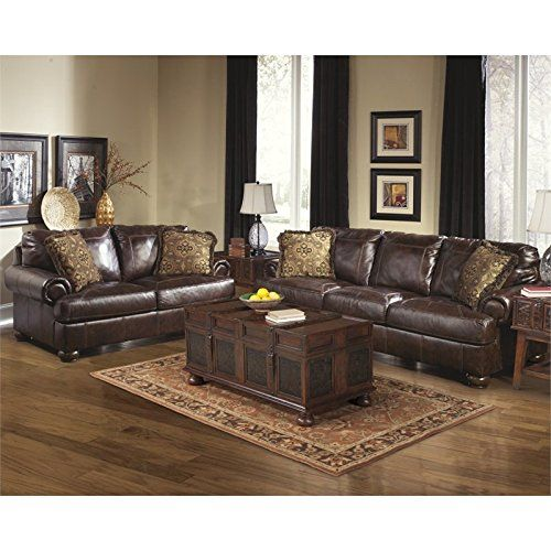 Ashley Furniture Axiom 2 Piece Leather Sofa Set In Walnut Best Furniture Review Living Room Leather Living Room Sets Furniture Brown Couch Living Room