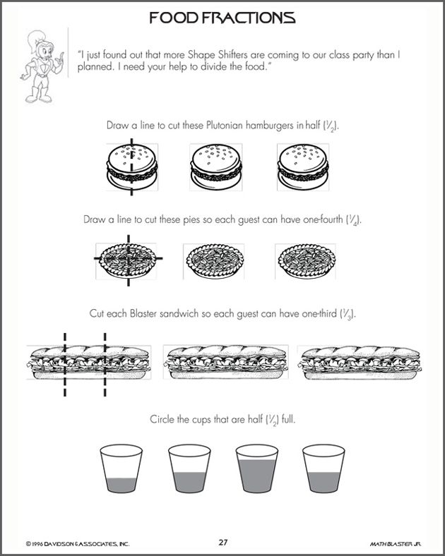 Food Fractions - Fraction Worksheet for Kids | Teaching ideas ...