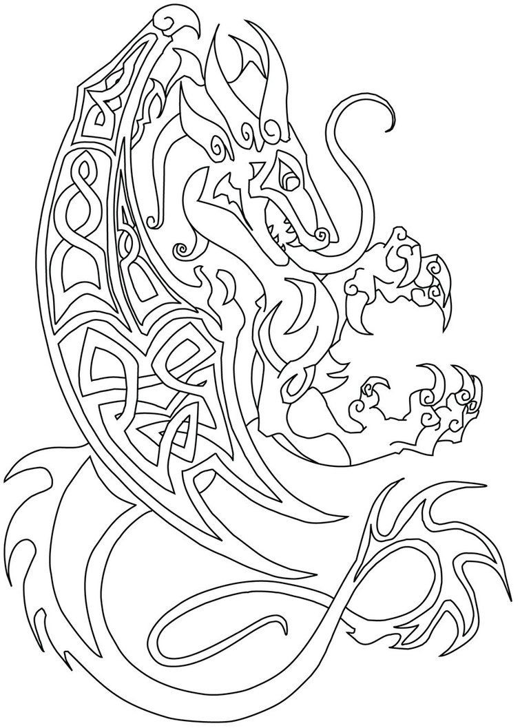 Commish Celtic Dragon By Littlemeesh On Deviantart Celtic Designs Celtic Coloring Dragon Art