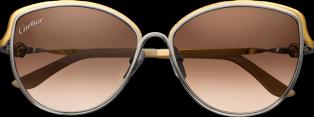 Trinity de Cartier sunglasses Two-tone golden and palladium-finish metal, brown lenses