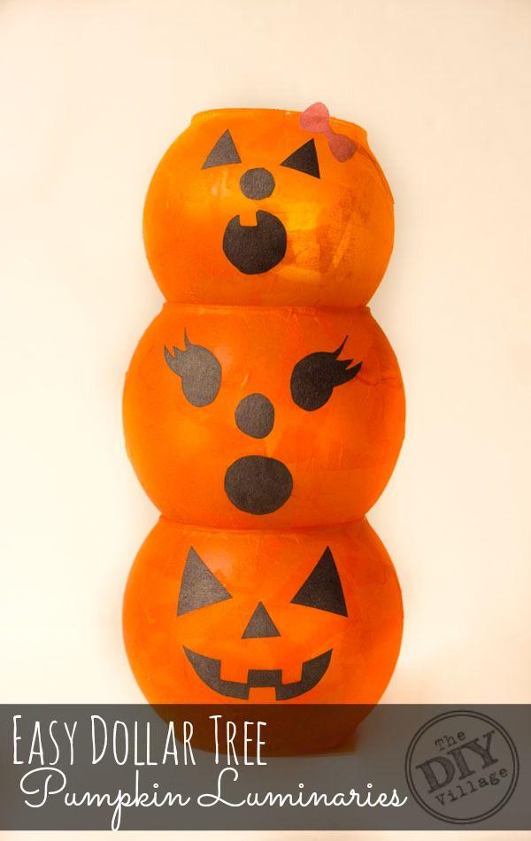 Dollar Tree Pumpkin Luminaries Dollar tree pumpkins, Decoration - how to make pumpkin decorations for halloween