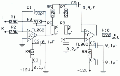 LOW PASS FILTER FOR SUBWOOFER TL072 | Circuit diagram ...