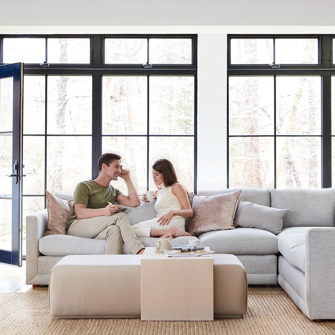 Maiden Home On Instagram Weekend Plans Crosswords And Coffee The Warren Sectional In Fog Performance Washed Cottage Living Rooms Home Living Room Designs