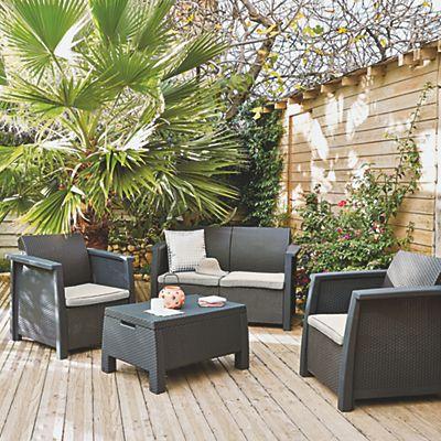 Salon de jardin gris effet rotin tressé (4 places)   Outdoor ...
