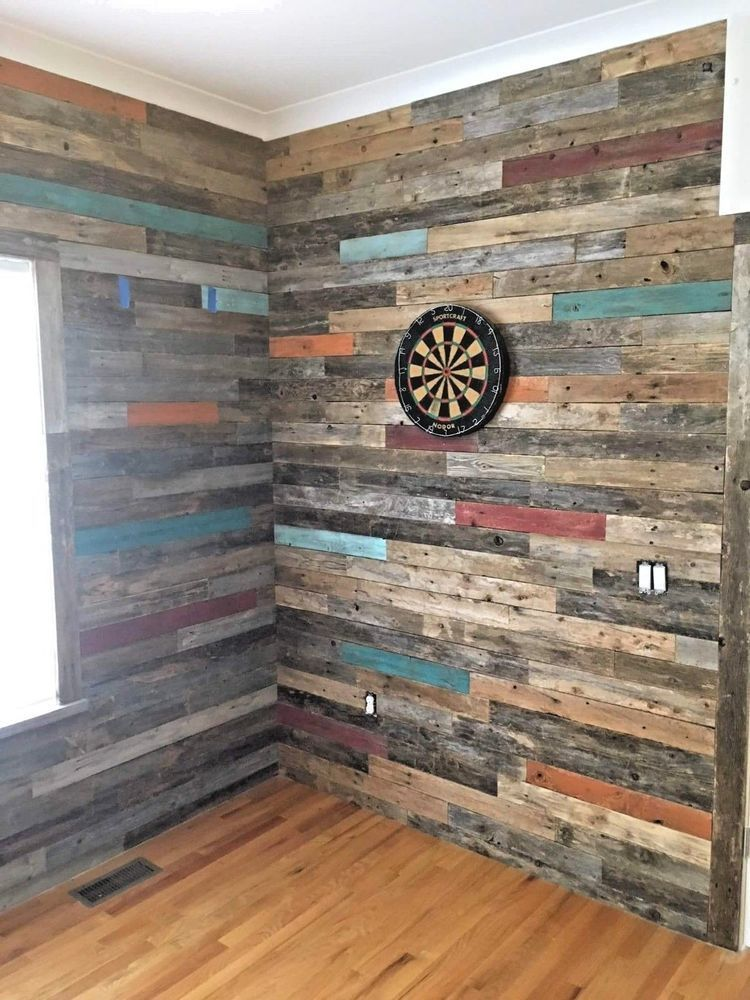 Our 30 Sq Pictured Above Includes A Mixture Of 3 Separate Colors Randomly Placed We Dismantle Beautif In 2020 Reclaimed Wood Accent Wall Wood Accent Wall Wall Planks