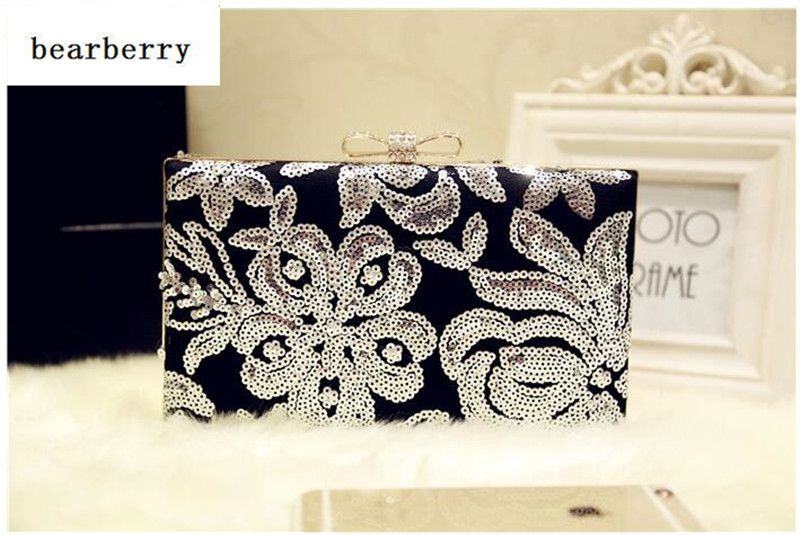 BEARBERRY  2017 high quality Sequins evening bags bow wedding clutch bags for women diamond luxury clutch bags with chain