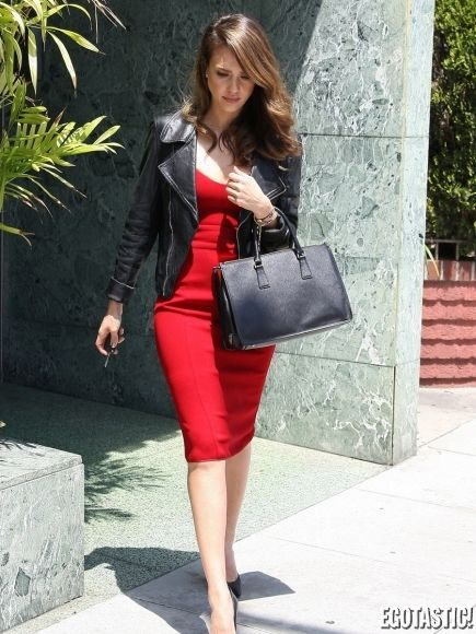 Jessica alba- For less and Red leather on Pinterest