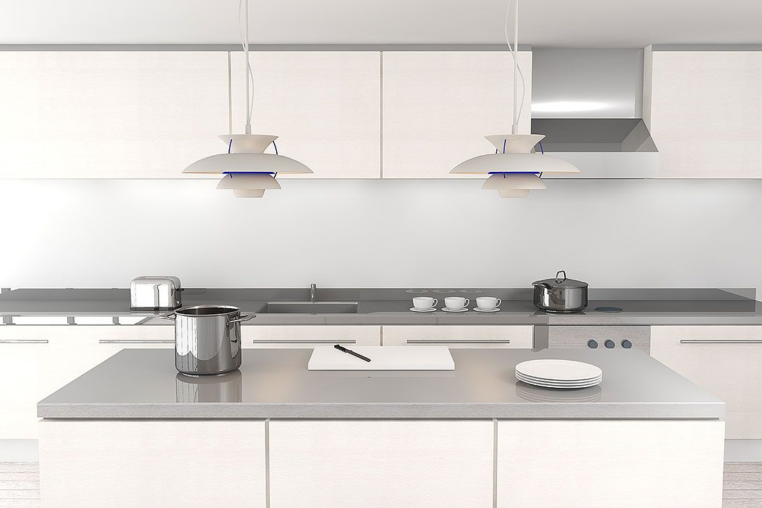 Light Grey Benchtops White Cupboards Would Look Great With Dark Splash Backs