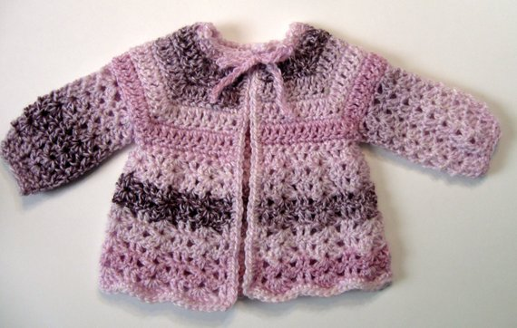 Baby Sweater Pretty In Pink  0 to 3 months in Size Handmade by NormasTreasures on etsy