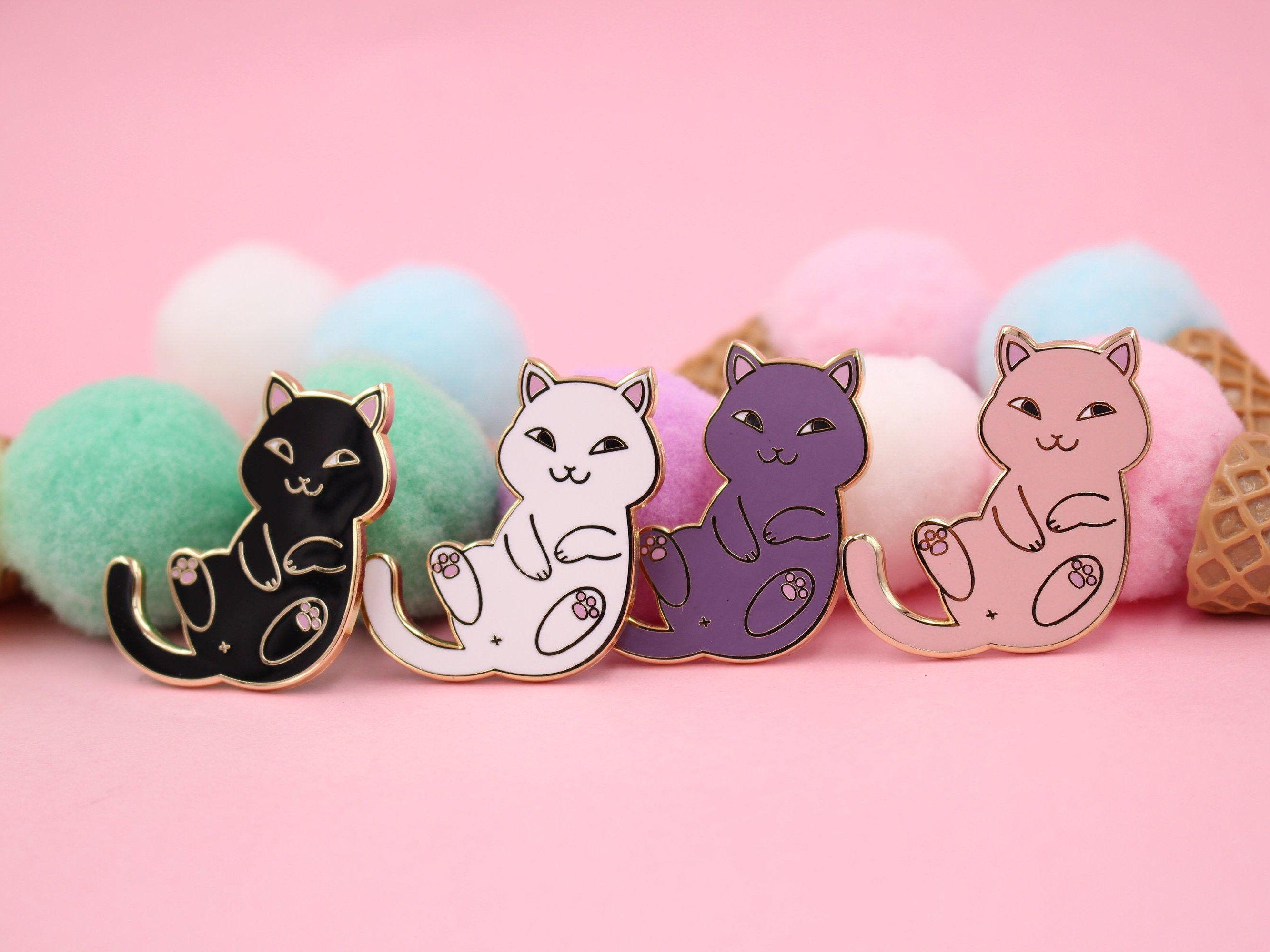 2aea7b7cec67 Playful Cat Enamel Pin - Cute & Funny Cat Lapel Pin Set in Black ...