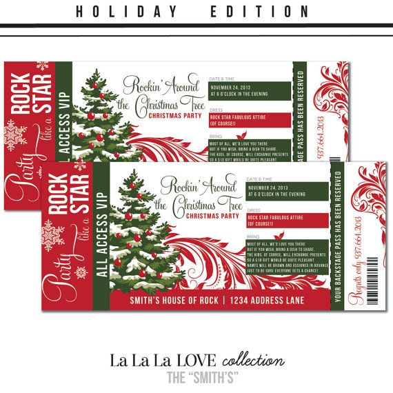 Printable Custom Holiday Concert Ticket Christmas Party Invitation - christmas party ticket template free