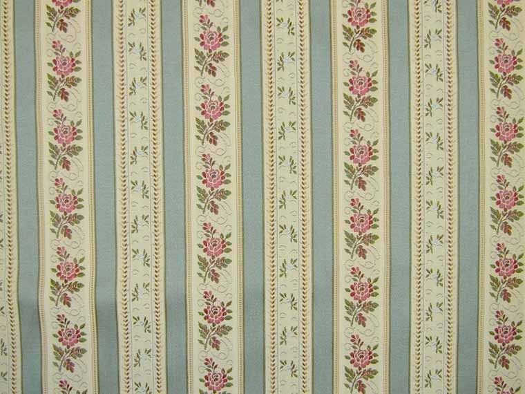 Floral Teal Stripe Curtain Fabric Striped Upholstery Fabric