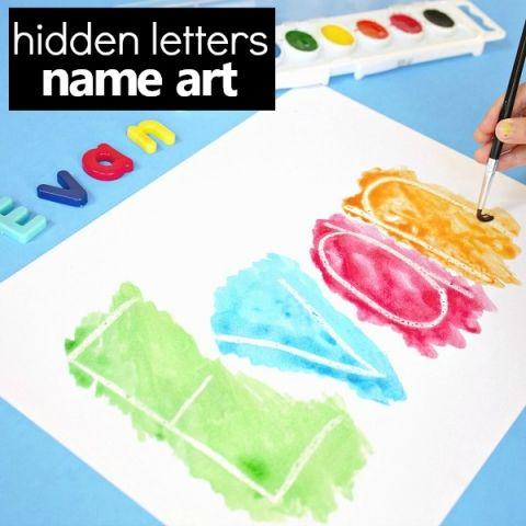 Hidden Name Art Preschool Name Activity