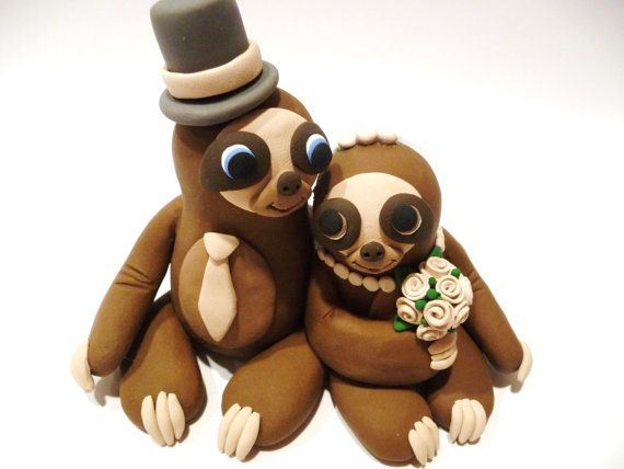 Sloth Wedding Cake Topper Choose Your Colors