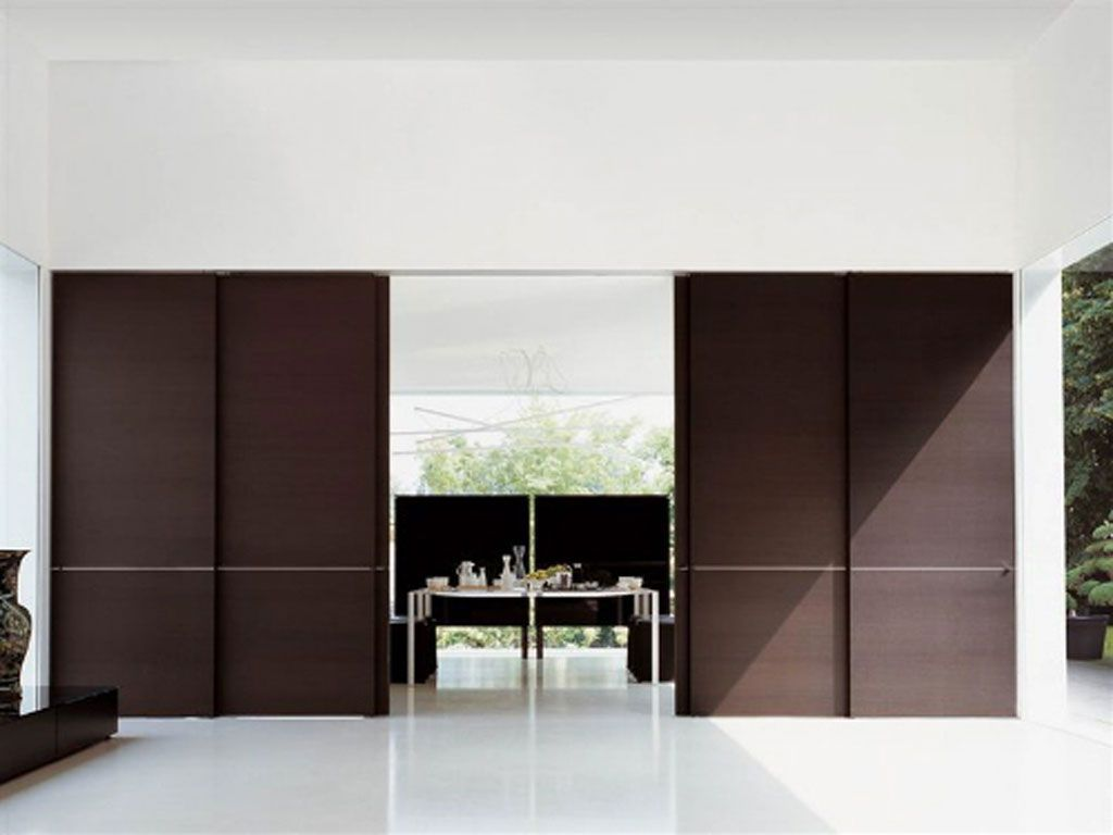 Modern wooden door design house pinterest sliding for Sliding door partition wall