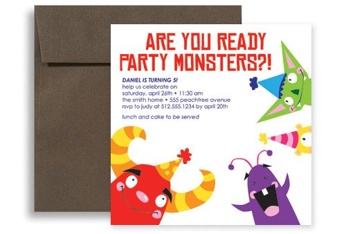 Kids Party Monster Printable Birthday Invitation 5x5 in Square - party invite templates