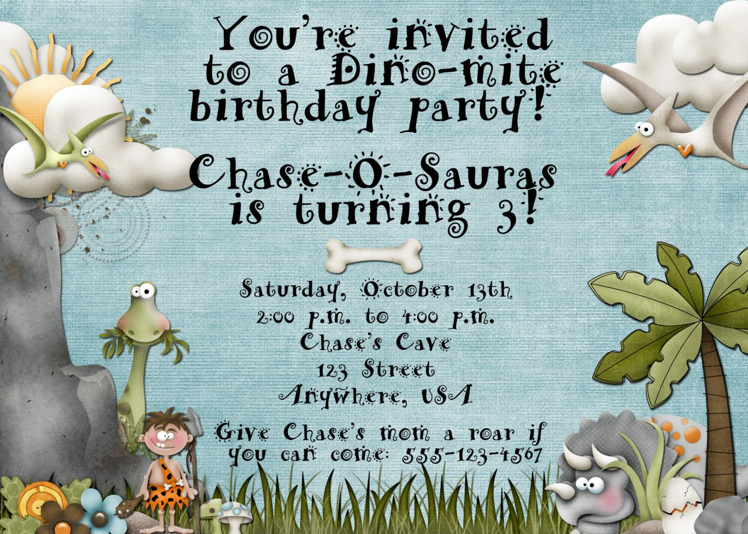 Dinosaur Caveman Birthday Party Invitation | Party invitations ...