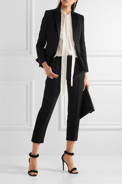 Black Wool And Silk Blend Button Fastenings Through Front 73 Wool