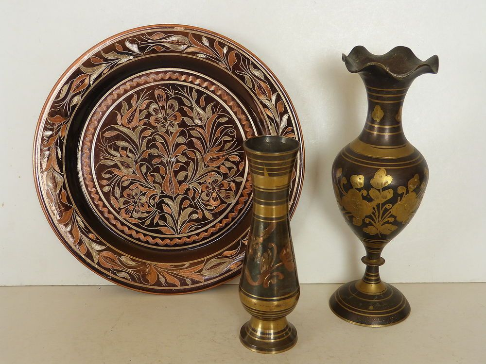 Antique Brass Wall Plates Magnificent Vintage Indian Turkish Brass Copper Engraved Floral Vases Design Inspiration