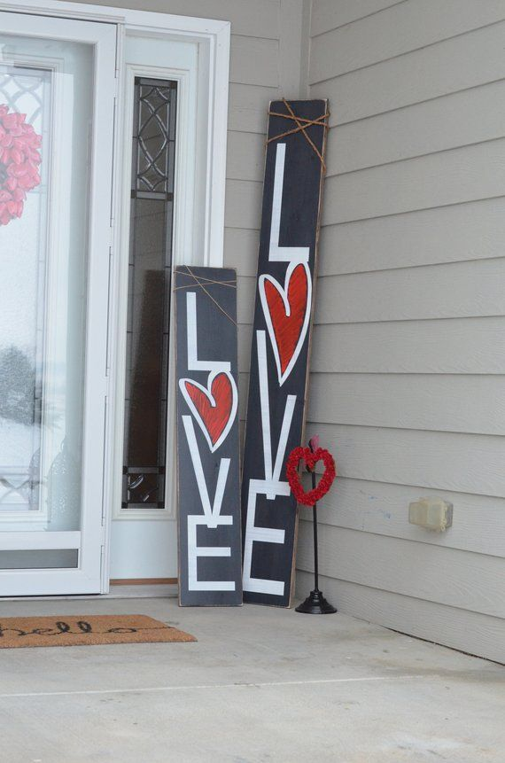 valentines day sign, rustic welcome sign, love porch decor, porch decor