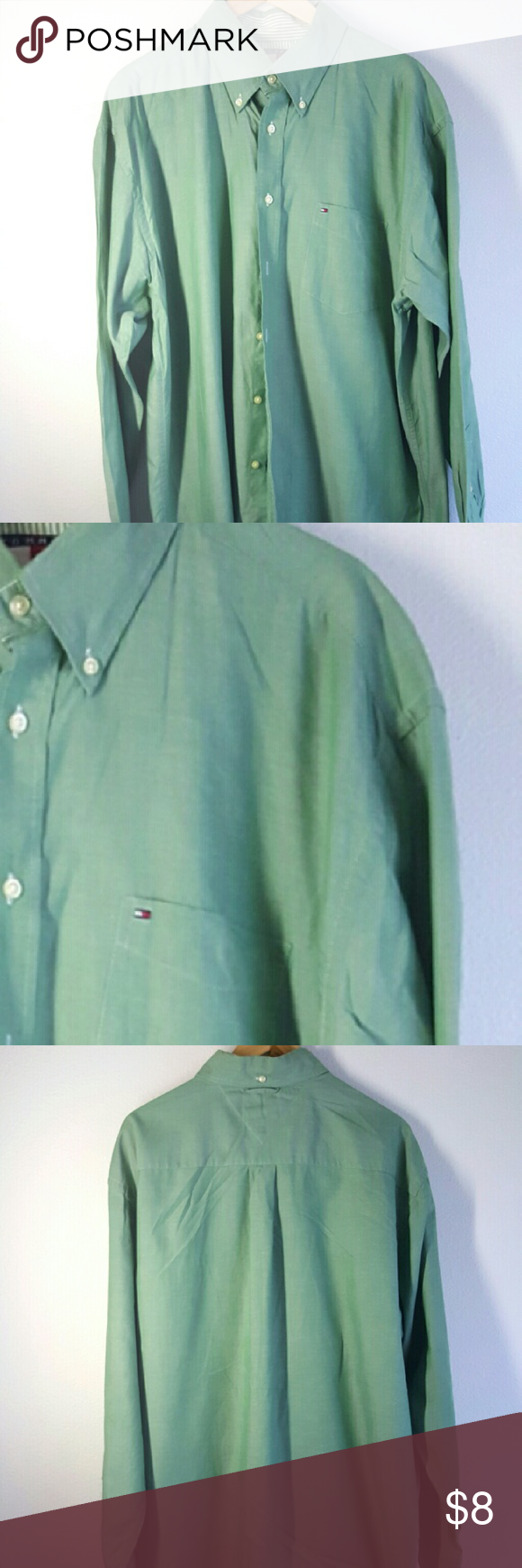 Tommy Hilfiger Mens Oxford Shirt XL Solid Oxford shirt Green! Very Comfortable!! Tommy Hilfiger Tops Button Down Shirts
