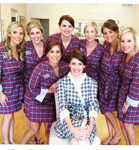 7b8d4abf1c Set of 4 Cozy Flannel Plaid Robes- Bride and Bridesmaid Robes ...