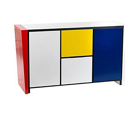 OAKOM - Credenza in legno laccato multicolor - 150x85x50 cm
