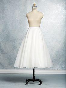 A tea-length, A-line wedding dress skirt with a satin-banded natural waist.
