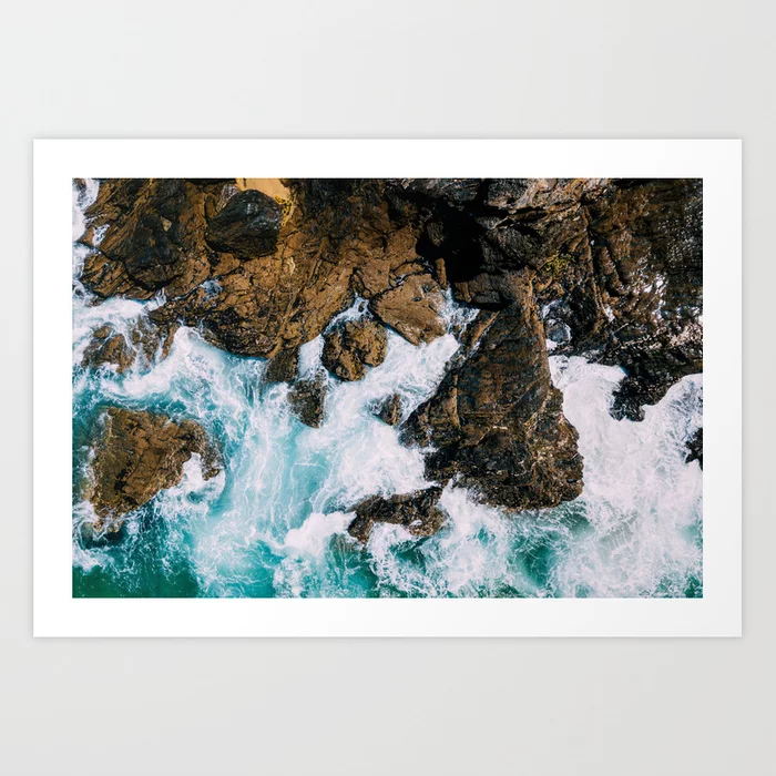 Buy Ocean Waves Crushing On Rocky Landscape Drone Photography Aerial Landscape Photo Ocean Wall Art A Ocean Wall Art Landscape Photos Wall Art Canvas Prints
