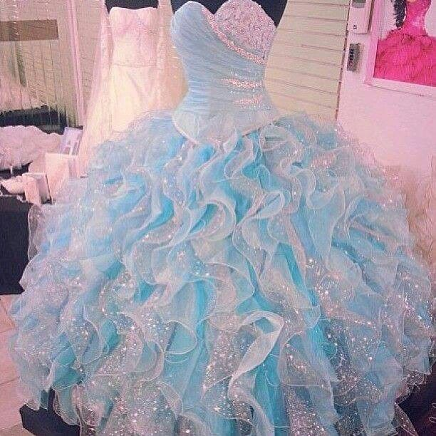 Blue and white puffy dress wedding