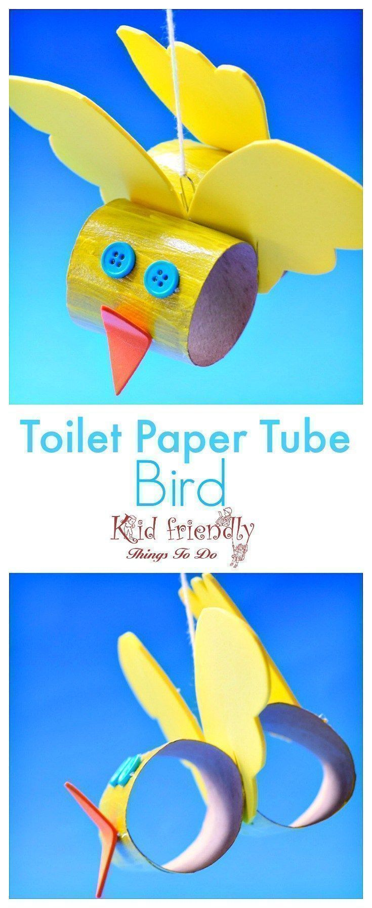 Make A Cute Toilet Paper Tube Bird Craft With Kids Easy To Make What A Cute Craft For Spring And Summer Make With Preschool Or Older Kids