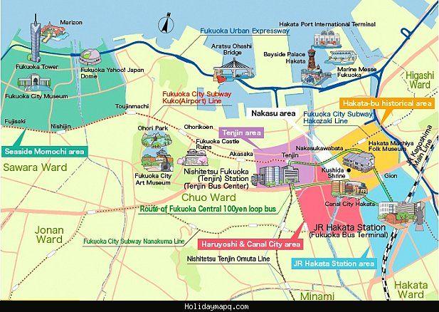 nice Map of Fukuoka Tourist   Holidaymapq   Map, Tourist map, Travel ...