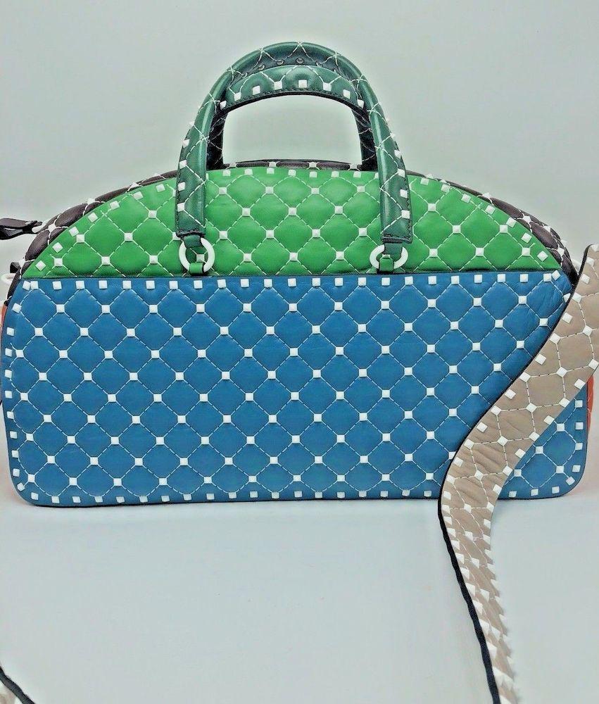 26a246e7f76e Authentic New Valentino Garavani Rockstud Leather Bowling Bag Retail  3795!