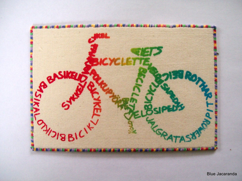 Bicycle Rainbow Calligram Art Card Multicolor Screen Print