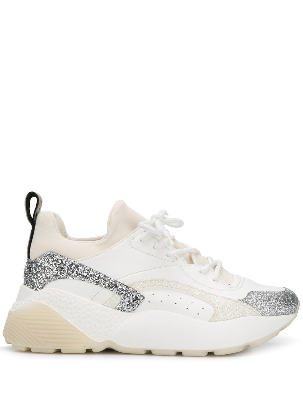 Stella McCartney Elyse glitter sneakers – White