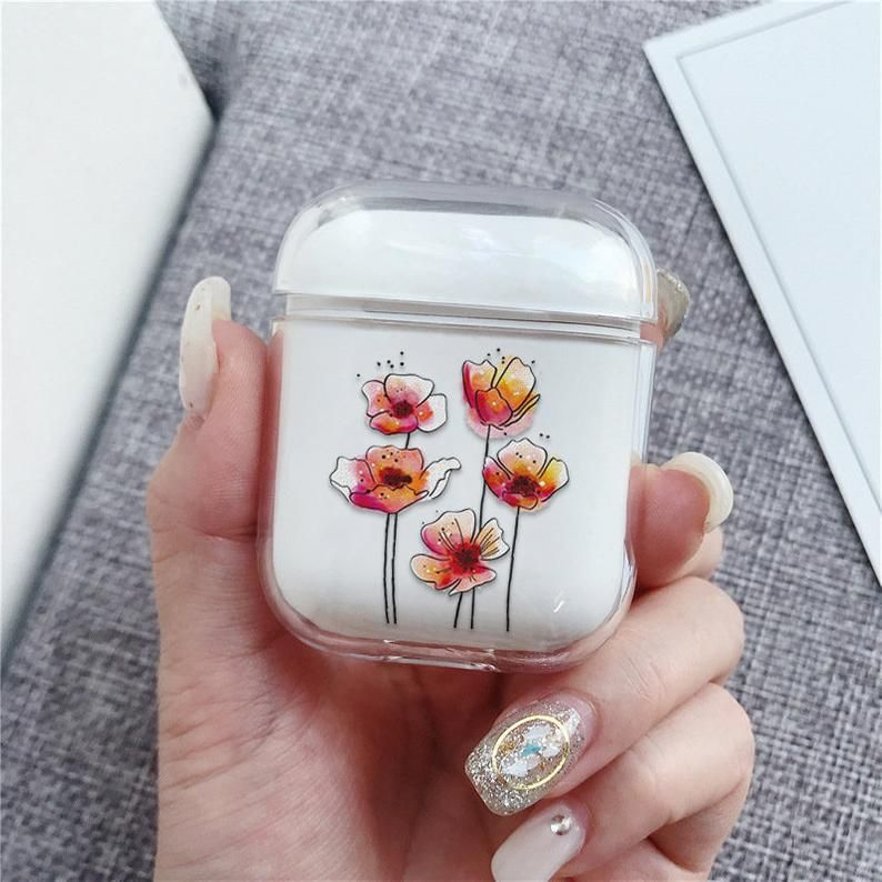 Poppy Flowers Airpod Case With Keychain Airpods Pro Case