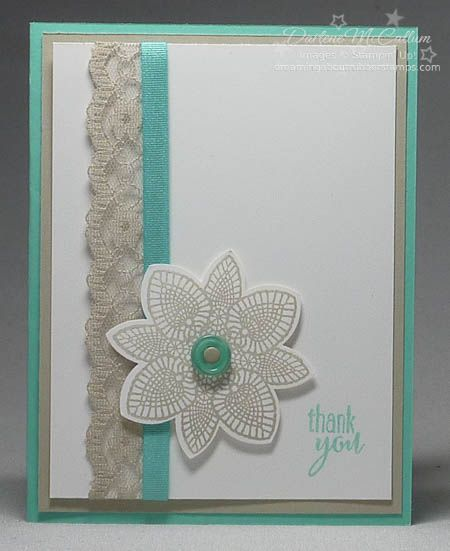 http://dreamingaboutrubberstamps.com - Petal Potpourri Lace - love how the lace design on the stamp works with the new Stampin' Up! Sahara Sand Lace trim