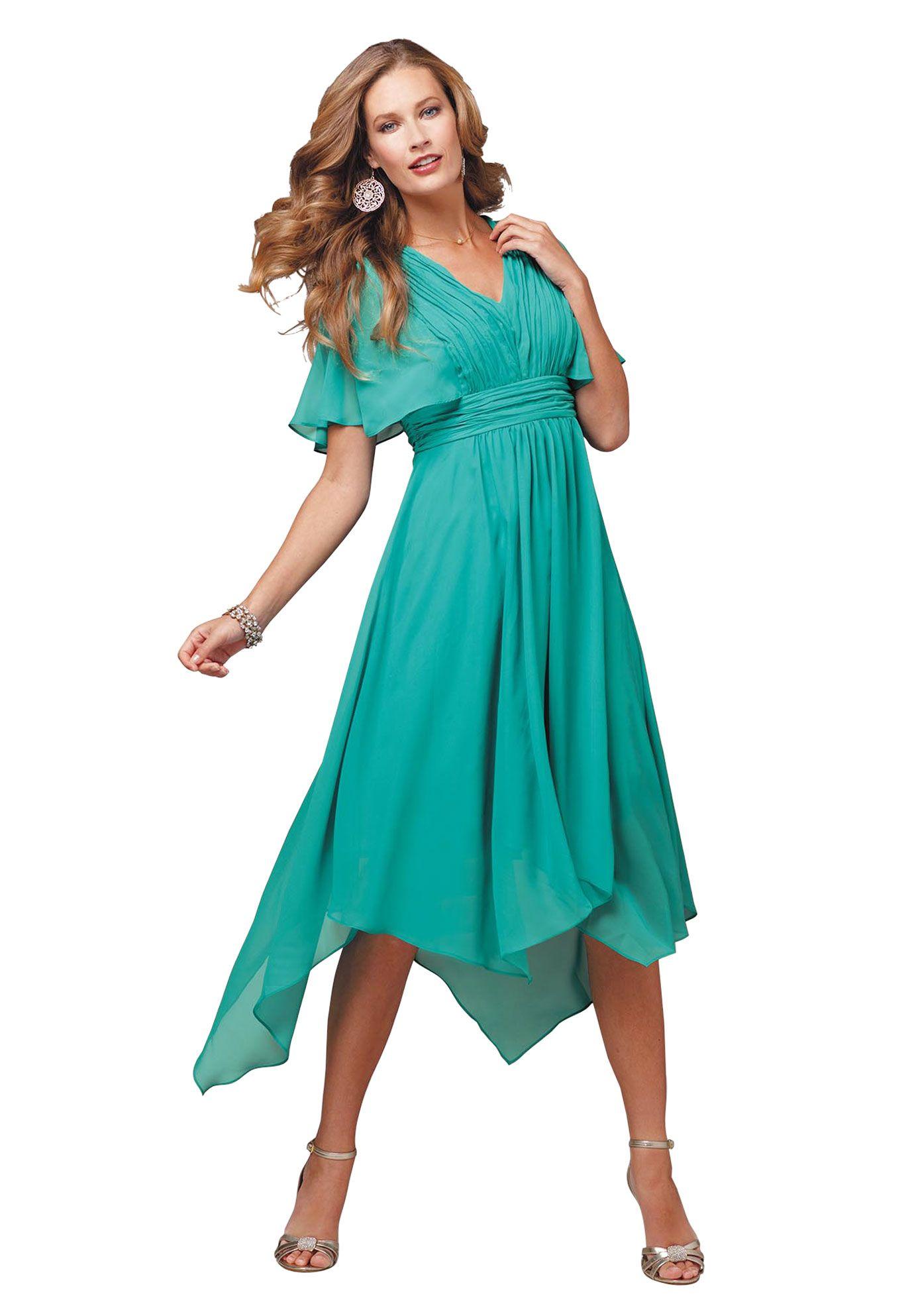 Fit and Flare Unven Hanky Hem Dress | Plus Size Evening Dresses ...