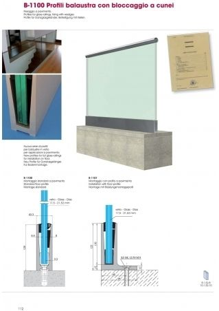 Profiles for glass railings, fixing with wedges B-1100 - B